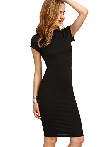 MAKEMECHIC Women's Short Sleeve Classy Solid Stretchy Pencil Dress Black XL