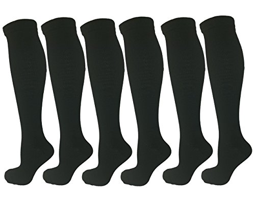 6 Pair Black Small/Medium Ladies Compression Socks, Moderate/Medium Compression 15-20 mmHg. Therapeutic, Occupational, Travel & Flight Knee-High Socks. Women's Shoe Sizes 6-10, Men's Sizes 5-9 (Air Pressure Switch 001)