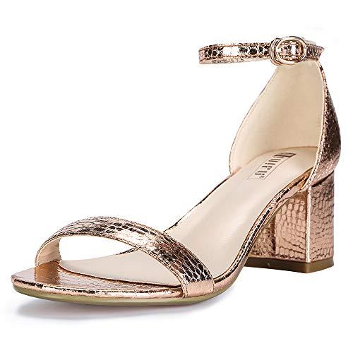 IDIFU Women's IN2 Cookie-LO Low Heel Ankle Strap Dress Pump Sandal (Champagne, 6.5 B(M) US) ()
