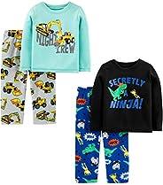 Simple Joys by Carter's Boys 4-Piece Pajama Set (Poly Top & Fleece Bottom) Pa