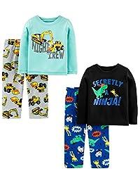 Simple Joys by Carter's Boys 4-Piece Pajama Set (Poly Top & Fleece Bottom) Pajama Set
