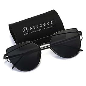 AEVOGUE Sunglasses For Women Metal Nose Pad Cat Eye Frame Brand Designer AE0342