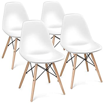 Giantex Set Of 4 Mid Century Modern Style DSW Dining Chair Side Wood  Assembled Legs For