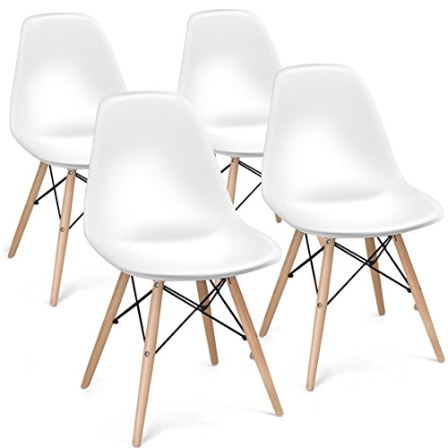 Leg Dining Room Set (Giantex Set of 4 Mid Century Modern Style DSW Dining Chair Side Wood Assembled Legs for Kitchen, Dining, Bedroom, Living Room (White))