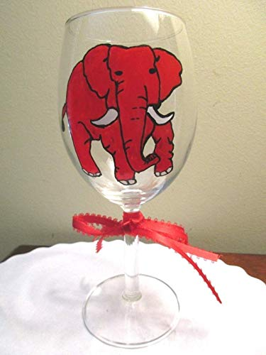 Hand Painted Wine Glass Red Elephant 12 oz