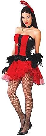 Ladies Sexy Rojo Burlesque Dancer Can Can Saloon Girl Salvaje Oeste gallina Do Terciopelo Disfraz 14-18: Amazon.es: Ropa y accesorios