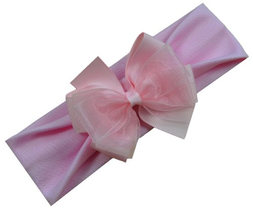 Leiah Baby Headband Featuring Layered Organza Ribbon Bow By Funny Girl Designs (Newborn - 1 Years), Light (Featuring Pink Ribbon)