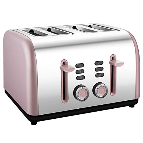 - 4 Slice toaster, Extra Wide Toaster 4 Slice Stainless Steel with Defrost/Reheat/Cancel/Quick Buttons 7 Browning Settings, 1400W, Pink