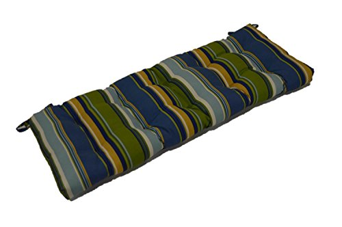 Blue Green Stripe Tufted Cushion for Bench, Swing, Glider - Choose Size (36