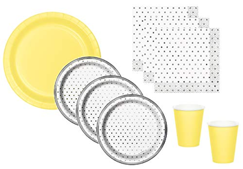 Gender Neutral Baby Shower Supplies Gray Silver Dot Plates Napkins With Yellow Plates Cups Serves 16 Guests              -