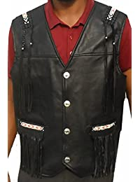 Classyak Western Leather Vest - A Grade Naked Cowhide, S - 5XL