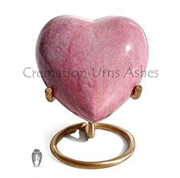 Brass Made Heart Urn for Keepsake Cremation Ashes Pink