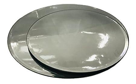 INERRA Redondo Espejo de Cristal Placa para Mesa Boda centros de Mesa, Velas y de Mesa arreglos - Plateado, 20cm: Amazon.es: Hogar