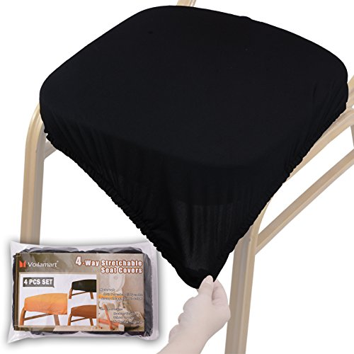 Voilamart Chair Seat Covers, Stretchable Dining Chair Cover Slipcovers, Soft Chair Protectors for Dining Room Patio Office Chair - Pack of 4, Black
