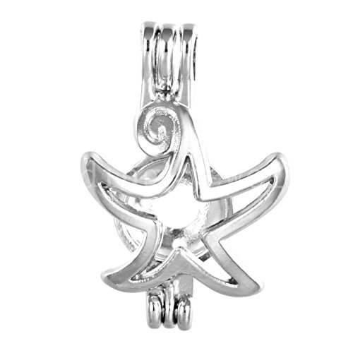 (10pcs Starfish Stainless Steel Tones Alloy Bead Cage Pendant - Add Your Own Pearls, Stones, Rock to Cage,Add Perfume and Essential Oils to Create a Scent Diffusing Locket Pendant Charms (A234))
