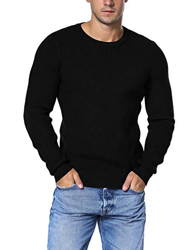 Rocorose Men's Winter Pullover Sweater Crew Neck Knit Ribbed Long Sleeves Black M ()