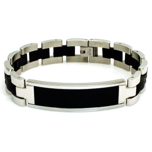 Engravable Id Bracelet (Stainless Steel Engravable Black Rubber ID Bracelet 8.25