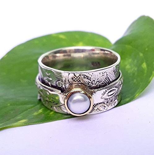 Amazon.com: Pearl Gemstone ring,Spinner ring Silver spinning ...