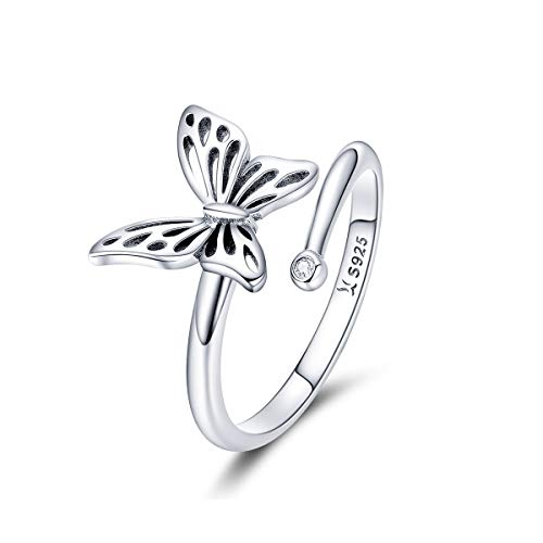 (925 Sterling Silver Dainty Butterfly Expandable Open Cuff Rings Adjustable Animal Promise Band Ring for Women Teen Girls)