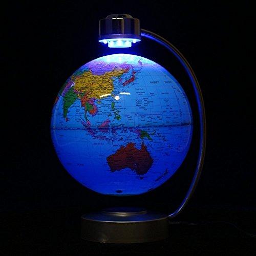 Globes World, 8'' Magnetic Floating Globe With LED Light - Anti-gravity Levitation Rotating Planet Earth Globe Stylish Home Office Desktop Display Decoration (Blue) by Yosoo (Image #8)