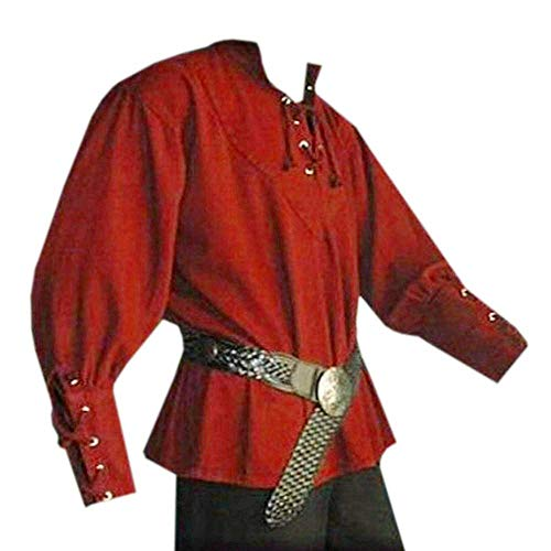 Karlywindow Men's Medieval Lace Up Pirate Mercenary Scottish Wide Cuff Shirt -