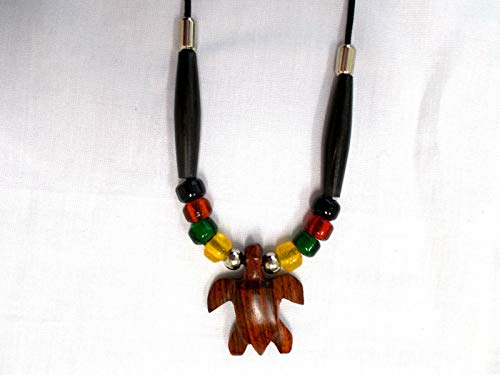 Exotic Rose Wood SEA Turtle Pendant Glass Rasta Color Accent Beads ADJ Necklace KEZ-2512