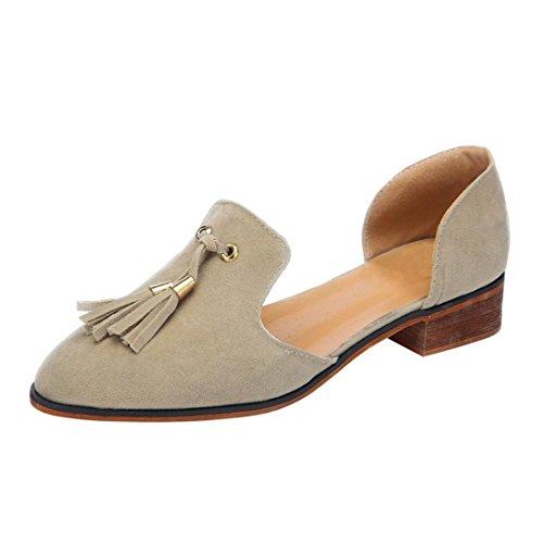 HKFV Frauen Damen Herbst Schuhe Mode Ankle Solide Quasten Leder Romon Einzelne Schuhe Spitze Reine Farbe Low-Heels Quaste Einzelne Schuhe Khaki