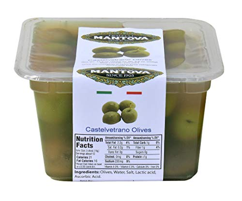 Castelvetrano Natural Olives Net. Wt. 15.9 oz, Dr. Wt. 8.8 oz by Mantova