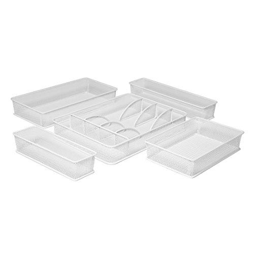Seville Classics Steel Mesh Flatware Utensil Cutlery Tray Drawer Organizer and Box Assortment, 5-Piece Set, White ()