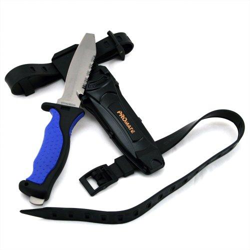 [Promate Blunt Tip Titanium Dive Knife - KF595, Blue/Black, Blunt Tip] (Titanium Dive Knife)