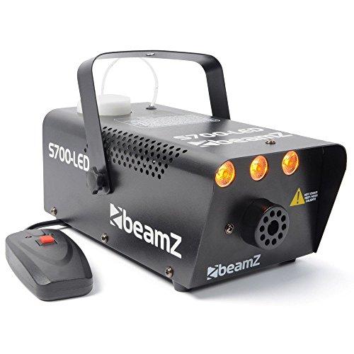 Beamz S700-LED Nebelmaschine mit Flammeneffekt Flammenwerfer (700W mit 250ml Tank, Durchfluss des Nebel 7m³/min, Fernbedienung mit 3m Kabel und Halterung Wand und Decke, 3Minuten Aufwärmzeit) schwarz
