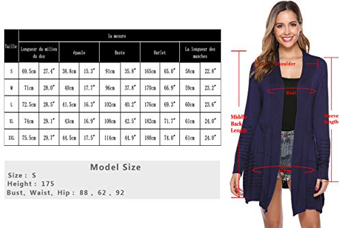 Sykooria Women Waterfall Long Cardigans Open Front Autumn Lightweight Long Sleeve Ladies Knitted Cardigans