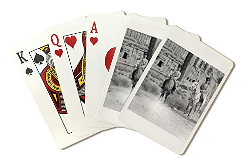 Soldiers on Horseback in front of Petra Photograph (Playing Card Deck - 52 Card Poker Size with Jokers)