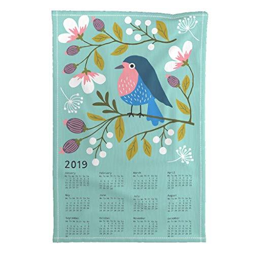 2019 Tea Towel Calendar Flowers Floral Robin Bird by Heleen Vd Thillart Special Edition Linen Cotton Tea Towel