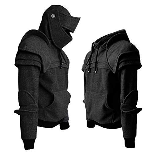 Men Arthur Medieval Knight Armor Hoodie Sweatshirt Pullover (L, Black)