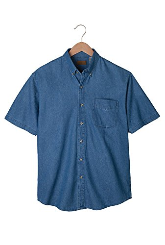 Edwards Men's Mid-Weight Short Sleeve Denim Shirt, Navy, 2XLarge