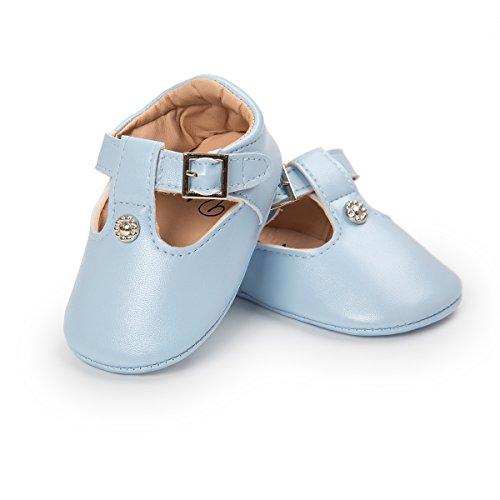 RVROVIC Baby Girl Moccasins Princess Sparkly Premium Lightweight Soft Sole Prewalker Toddler Shoes (L:12-18 Months, 4894-Blue) (Shoe Baby Blue Light)