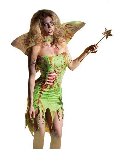 [Party King Women's Pixie Zombie 3 Piece Costume Set with Wings, Green, X-Large] (Zombie Ribs Costume)
