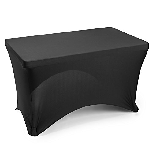 "Lann's Linens - 4' Fitted Stretch Tablecloth for 48"" x 24"" Rectangular Table - Wedding/Banquet/Trade Show - Spandex Cloth Fabric Cover - Black"