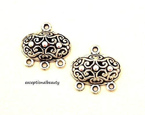 2 Silver Filigree Chandelier Earring Bead Drops Swarovski AB Crystal Rhinestones