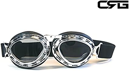 silver frame LEPAZA62208 CRG Sports Vintage Aviator Pilot Style Motorcycle Cruiser Scooter Goggle T03 T03ST Smoke lens