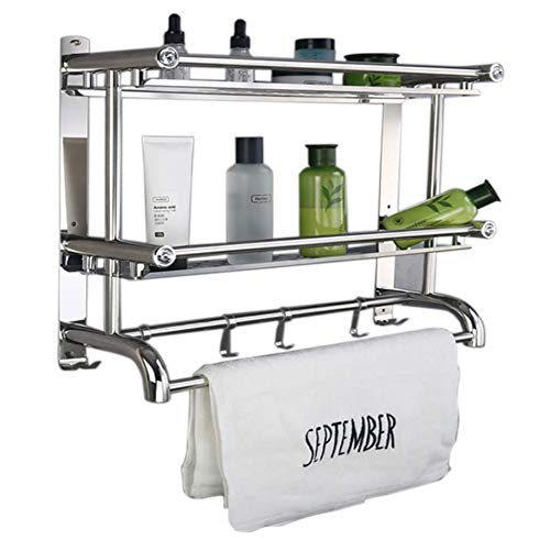 - Improvingss No Drilling Wall Mounted Stainless Steel Bathroom Shelf Rack, 2 Tier Shelves & 2 Towel Bars with Hooks, Packing with Crews