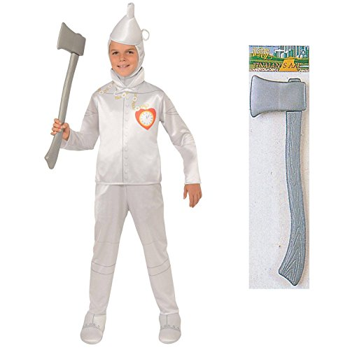 Tinman Costumes (Wizard of Oz Tin Man Costume Bundle Set - Child Large Costume and Axe)