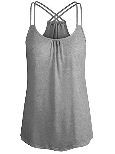 Cyanstyle Round Neck Lovely Sleeveless Breathable Form Fitting Cozy A Line Holiday Loose Fit Beach Tanks Plus Size Summer Tunics for Women Ladies Lightweight Tank Top Light Grey XXL ()