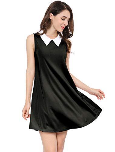 Allegra K Women's Sleeveless Trapeze Dresses Peter Pan Collar Swing Tank Dress Black Large