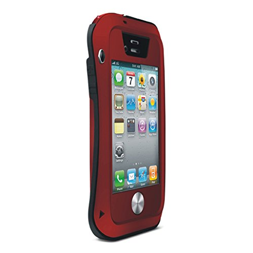 Love Mei Shockproof Waterproof Dust/Dirt/Snow Proof Aluminum Metal Gorilla Glass Military Heavy Duty Protection Case Cover for Apple iPhone 4/4S Red