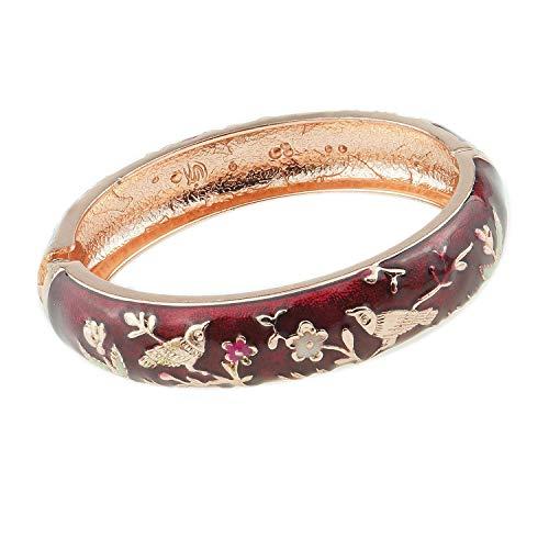 UJOY Colors Cloisonne Bracelet Handcraft Jewelry Enamel Bird Spring Hinge Women Girls Bangle Birthday Gifts Box 55C49 Wine red