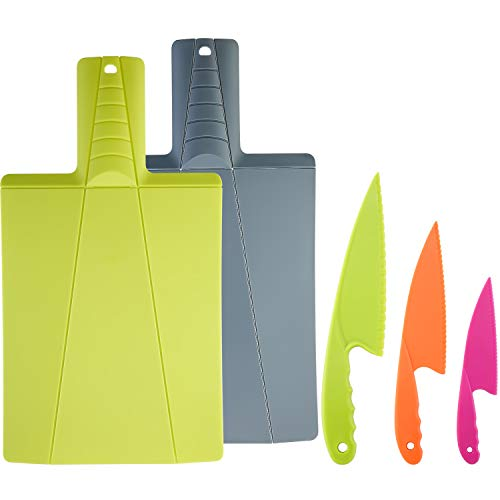 Foldable Plastic Cutting Board in 2 Colors and Cooking Knife in 3 Sizes and Colors/Firm Grip, Safe and Durable, Bread, Lettuce and Salad Knives (Chop To Pot Cutting Board)
