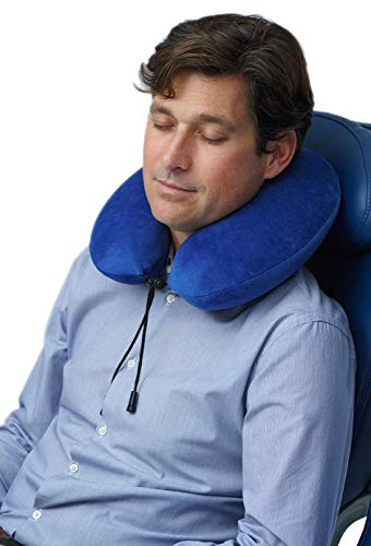 Travelrest - Therapeutic Memory Foam Travel & Neck Pillow - Washable Micro-Fiber Cover - Attaches to Luggage -- Molds Perfectly To Your Neck And Head (2-Year Warranty) by Travelrest (Image #4)