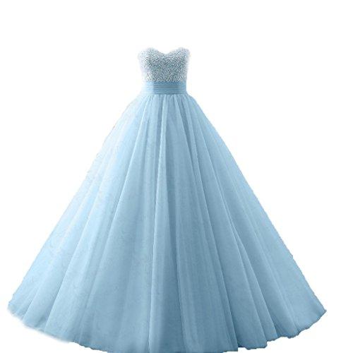 Prom Beads Gown Dress Long Blue Ball Dresses Diandiai Tulle Light Quinceanera wZOF06ZWR